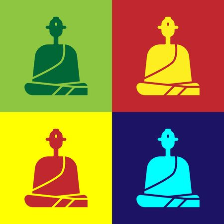 Pop art Buddhist monk in robes sitting in meditation icon isolated on color background. Vector Illustration