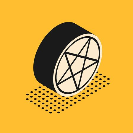 Isometric Pentagram in a circle icon isolated on yellow background. Magic occult star symbol. Vector Illustration