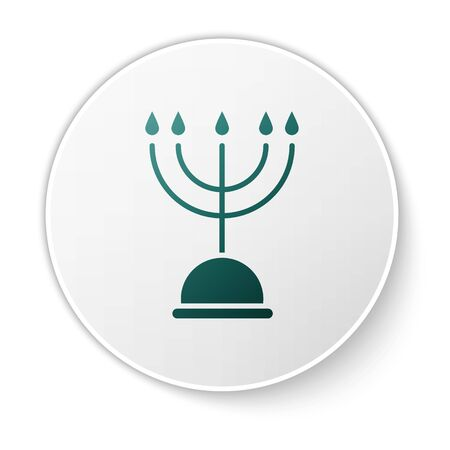 Green Hanukkah menorah icon isolated on white background. Hanukkah traditional symbol. Holiday religion, jewish festival of Lights. White circle button. Vector Illustration Ilustracja