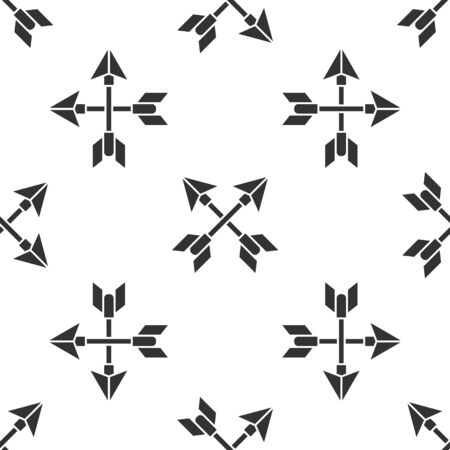 Grey Crossed arrows icon isolated seamless pattern on white background. Vector Illustration