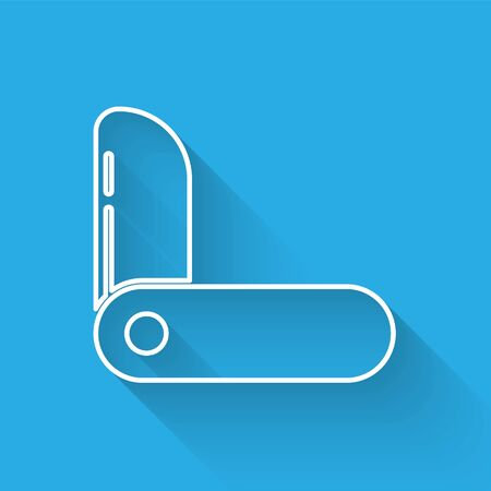 White line Swiss army knife icon isolated with long shadow. Multi-tool, multipurpose penknife. Multifunctional tool. Vector Illustration Vettoriali