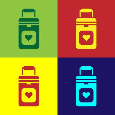 Pop art Cooler box for human organs transportation icon isolated on color background. Organ transplantation concept. Organ container. Vector Illustration