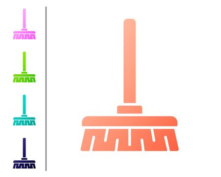 Coral Handle broom icon isolated on white background. Cleaning service concept. Set color icons. Vector Illustration