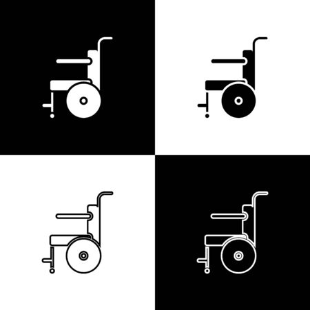 Set Wheelchair for disabled person icon isolated on black and white background. Vector Illustration
