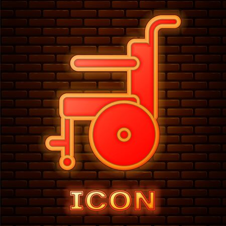 Glowing neon Wheelchair for disabled person icon isolated on brick wall background. Vector Illustration