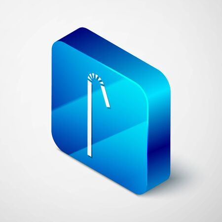 Isometric Drinking plastic straw icon isolated on grey background. Blue square button. Vector Illustration
