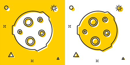Black Moon icon isolated on yellow and white background. Random dynamic shapes. Vector Illustration 版權商用圖片 - 146038894