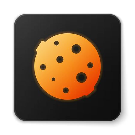 Orange glowing neon Moon icon isolated on white background. Black square button. Vector Illustration