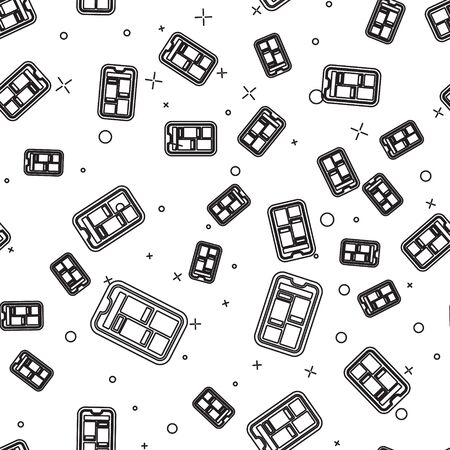 Black line Online shopping on mobile phone icon isolated seamless pattern on white background. Internet shop, mobile store app and payments billing. Vector Illustration