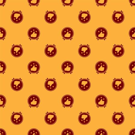 Red Consumer or customer product rating icon isolated seamless pattern on brown background. Vector Illustration