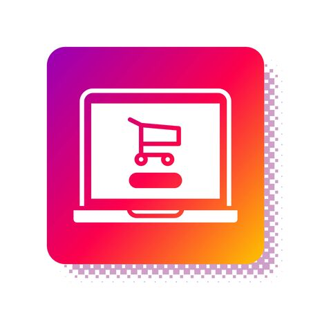 White Shopping cart on screen laptop icon isolated on white background. Concept e-commerce, e-business, online business marketing. Square color button. Vector Illustration