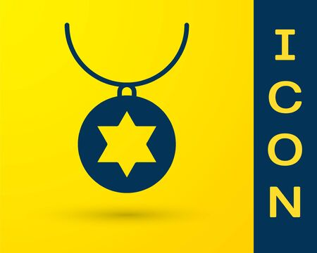 Blue Star of David necklace on chain icon isolated on yellow background. Jewish religion. Symbol of Israel. Jewellery and accessory. Vector Illustration