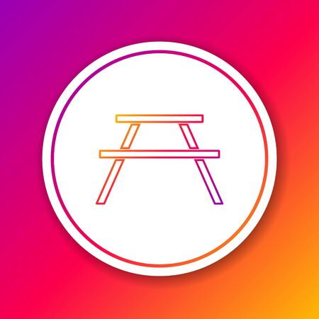 Color line Picnic table with benches on either side of the table icon isolated on color background. Circle white button. Vector Illustration
