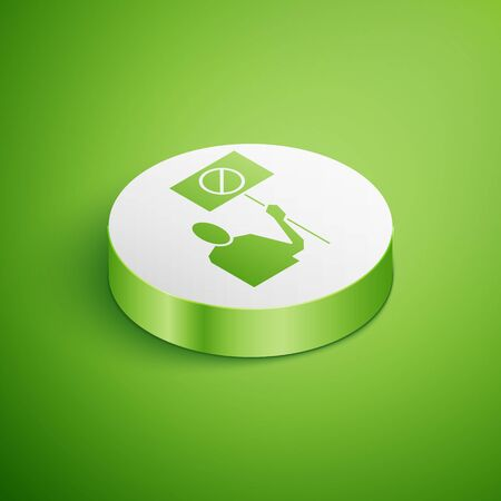 Isometric Nature saving protest icon isolated on green background. Earth planet protection, environmental issues demonstration. White circle button. Vector Illustration