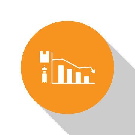 White Ecology infographic icon isolated on white background. Orange circle button. Vector Illustration