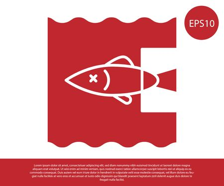 Red Stop ocean plastic pollution icon isolated on white background. Environment protection concept. Fish say no to plastic. Vector Illustration