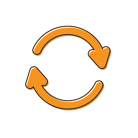 Orange Refresh icon isolated on white background. Reload symbol. Rotation arrows in a circle sign. Vector Illustration