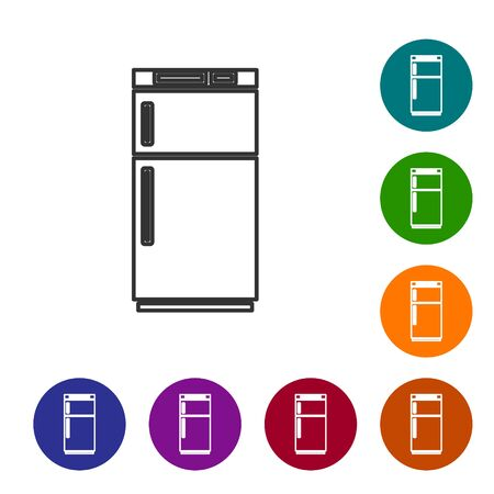 Black line Refrigerator icon isolated on white background. Fridge freezer refrigerator. Household tech and appliances. Set icons in color circle buttons. Vector Illustration
