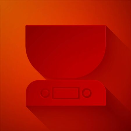 Paper cut Electronic scales icon isolated on red background. Weight measure equipment. Paper art style. Vector Illustration