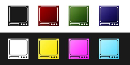 Set Electronic scales icon isolated on black and white background. Weight measure equipment. Vector Illustration
