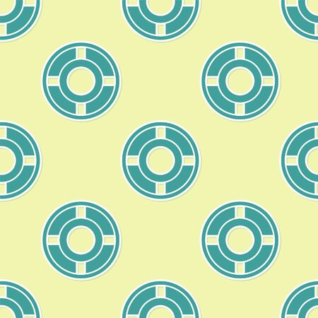 Green Ashtray icon isolated seamless pattern on yellow background. Vector Illustration