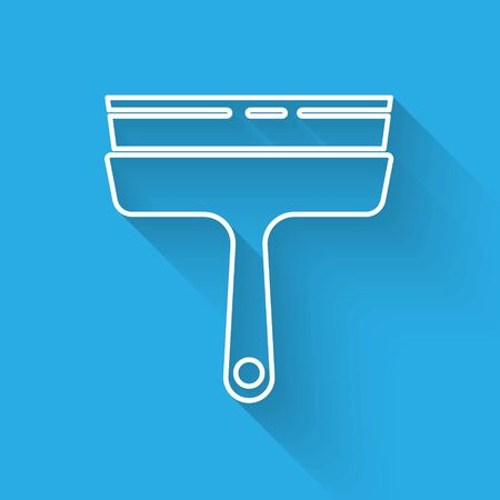 White line Cleaning service with of rubber cleaner for windows icon isolated with long shadow. Squeegee, scraper, wiper. Vector Illustration