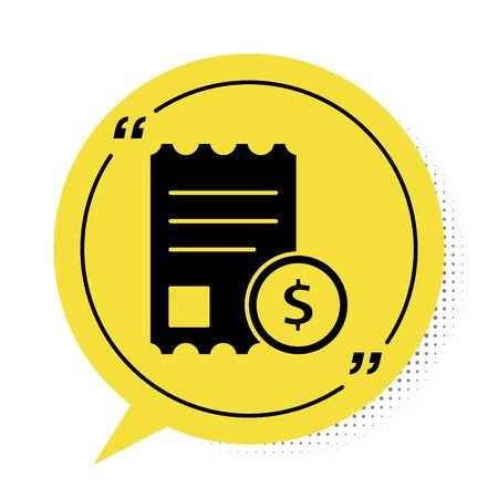Black Paper check and financial check icon isolated on white background. Paper print check, shop receipt or bill. Yellow speech bubble symbol. Vector Illustration