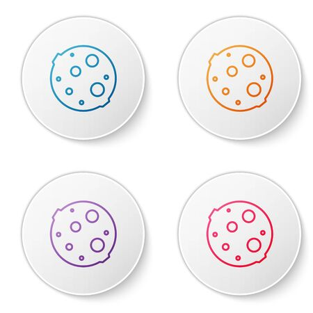 Color line Moon icon isolated on white background. Set icons in circle buttons. Vector Illustration