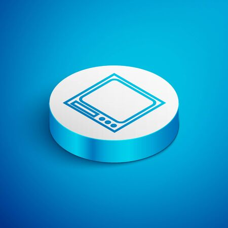 Isometric line Electronic scales icon isolated on blue background. Weight measure equipment. White circle button. Vector Illustration