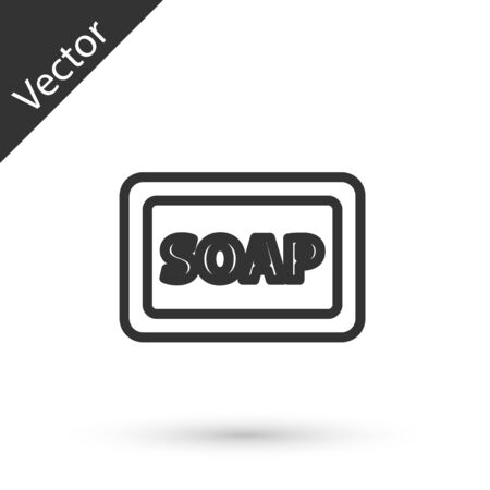 Grey line Bar of soap with foam icon isolated on white background. Soap bar with bubbles. Vector Illustration