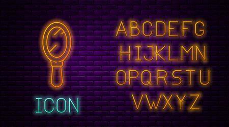 Glowing neon line Hand mirror icon isolated on brick wall background. Neon light alphabet. Vector Illustration