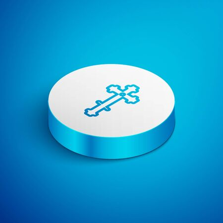 Isometric line Christian cross icon isolated on blue background. Church cross. White circle button. Vector Illustration