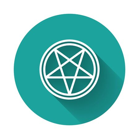 White line Pentagram in a circle icon isolated with long shadow. Magic occult star symbol. Green circle button. Vector Illustration Illustration