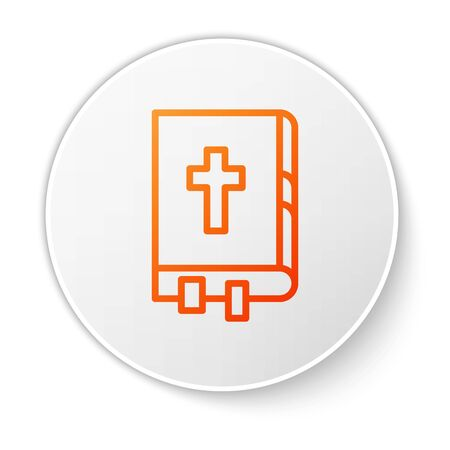 Orange line Holy bible book icon isolated on white background. White circle button. Vector Illustration