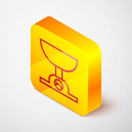 Isometric line Electronic scales icon isolated on grey background. Weight measure equipment. Yellow square button. Vector Illustration Ilustração