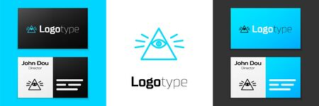 Grey line Masons symbol All-seeing eye of God icon isolated on white background. The eye of Providence in the triangle. Vector Illustration