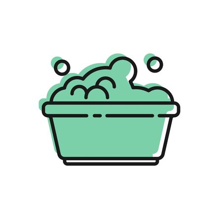 Black line Plastic basin with soap suds icon isolated on white background. Bowl with water. Washing clothes, cleaning equipment. Vector Illustration Ilustração