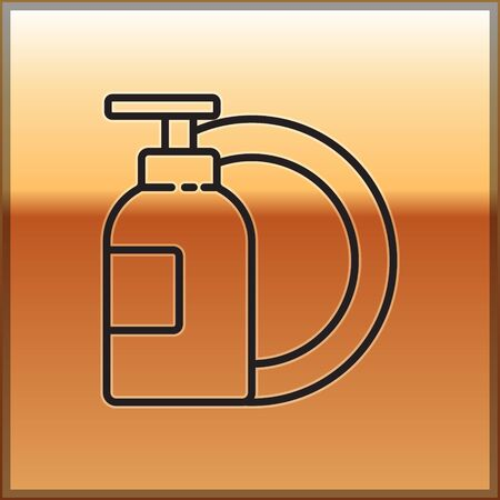 Black line Dishwashing liquid bottle and plate icon isolated on gold background. Liquid detergent for washing dishes. Vector Illustration