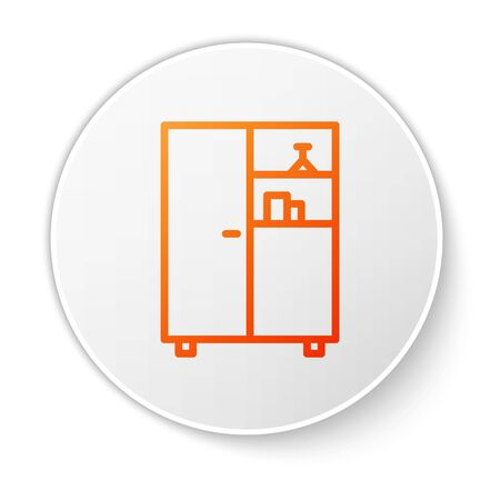 Orange line Medicine cabinet icon isolated on white background. White circle button. Vector Illustration