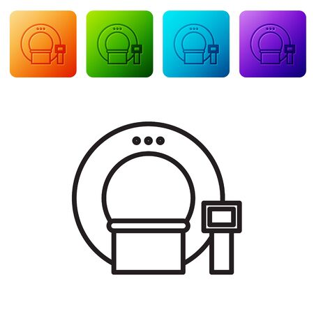Black line Tomography icon isolated on white background. Medical scanner, radiation. Diagnosis, radiology, magnetic resonance therapy. Set icons in color square buttons. Vector Illustration