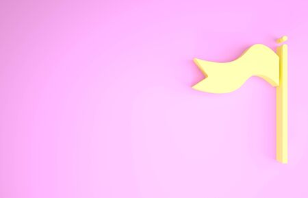 Yellow Meteorology windsock wind vane icon isolated on pink background. Windsock indicate the direction and strength of the wind. Minimalism concept. 3d illustration 3D render