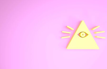 Yellow Masons symbol All-seeing eye of God icon isolated on pink background. The eye of Providence in the triangle. Minimalism concept. 3d illustration 3D render