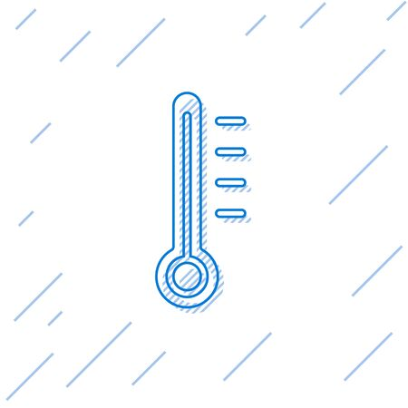Blue line Meteorology thermometer measuring icon isolated on white background. Thermometer equipment showing hot or cold weather. Vector Illustration