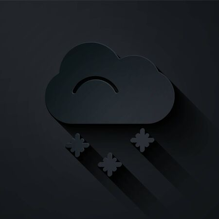 Paper cut Cloud with snow icon isolated on black background. Cloud with snowflakes. Single weather icon. Snowing sign. Paper art style. Vector Illustration