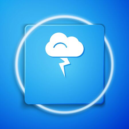 White Storm icon isolated on blue background. Cloud and lightning sign. Weather icon of storm. Blue square button. Vector Illustration