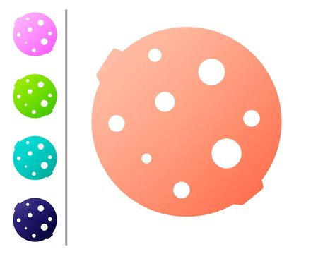 Coral Moon icon isolated on white background. Set color icons. Vector Illustration