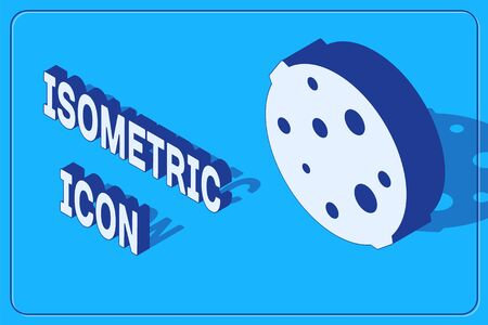 Isometric Moon icon isolated on blue background. Vector Illustration