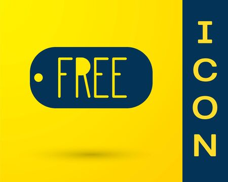 Blue Price tag with an inscription Free icon isolated on yellow background. Badge for price. Promo tag discount. Vector Illustration