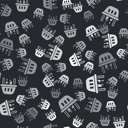 Grey Shopping basket and food icon isolated seamless pattern on black background. Food store, supermarket. Vector Illustration Иллюстрация