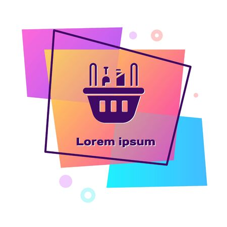 Purple Shopping basket and food icon isolated on white background. Food store, supermarket. Color rectangle button. Vector Illustration Иллюстрация